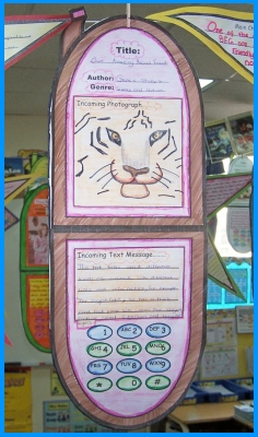 Cell Phone Book Report Project Classroom Hanging Display