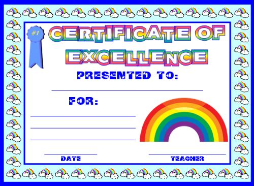 excellence award certificate template free - Free Certificate Of Excellence Template