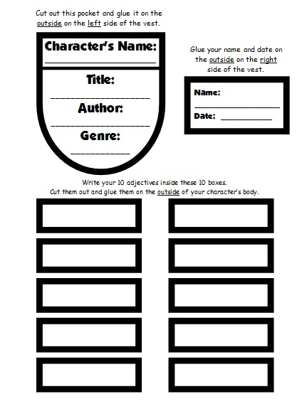 Character Design Rubric : Character body book report project templates worksheets