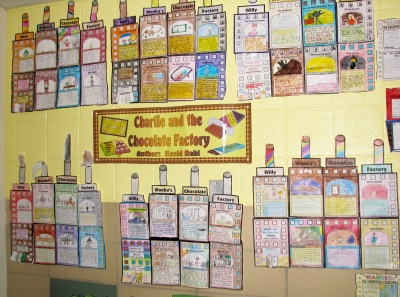 Charlie and the Chocolate Factory Group Project Bulletin Board Disply Roald Dahl