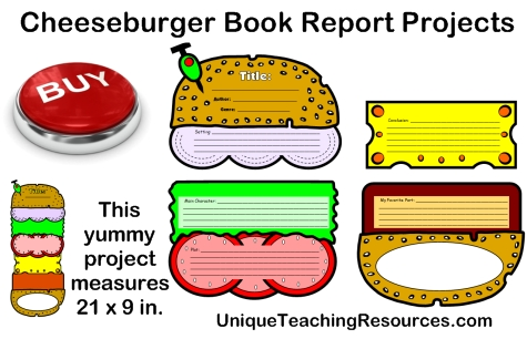 Cheeseburger book report project templates printable for Sandwich template for writing