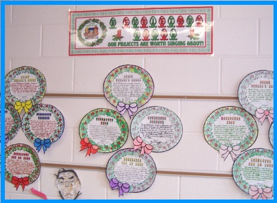 A Christmas Carol  by Charles Dickens Wreath Bulletin Board Display of Projects
