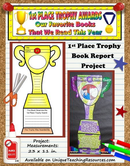 Fun Book Report Project Ideas   First Place Trophy Award Templates  First Place Award Template