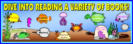 Dive Into Reading a Variety of Books Bulletin Board Display Banner