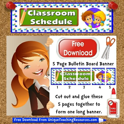 Download Free Classroom Schedule Bulletin Board Display Banner