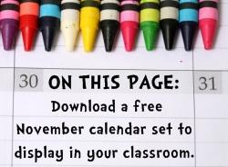 Download Free November Classroom Calendar Set