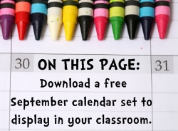 Download Free September Classroom Calendar Set