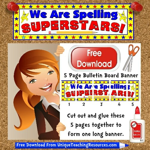 Download Free Spelling Superstars Bulletin Board Display Banner