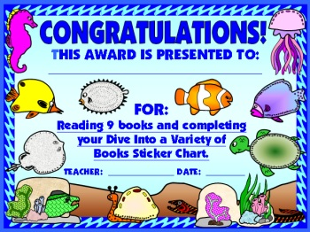 Student Reading Award Certificate Dive Into Reading