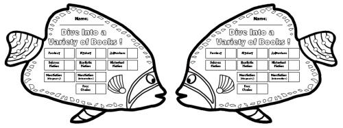 Black and White Fish Sticker Chart Templates