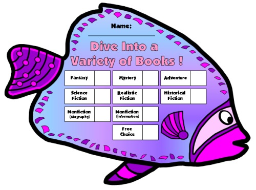 Large Angel Fish Reading Sticker Chart Template