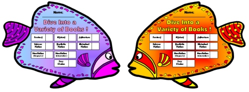 Color Angel Fish Sticker Charts and Templates