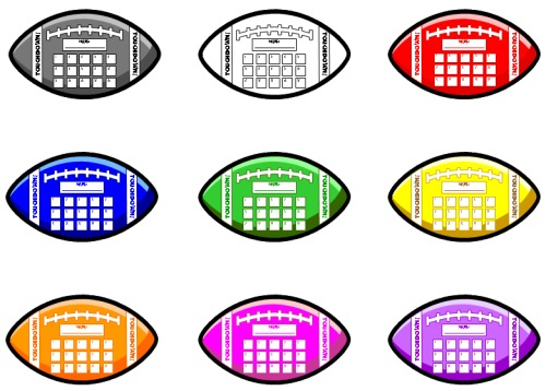Football Sticker and Incentive Charts and Color Templates