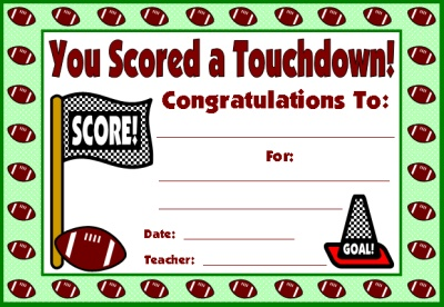 Football Award Certificate for Sticker Charts