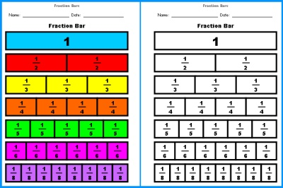 fraction-decimal scale: fraction bars : equivalent fractions printable ...