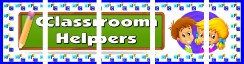 Assemble these 5 pages together to create a free classroom helpers bulletin board display banner for your classroom.