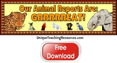 Click here to download this free animal reports bulletin board display banner for your classroom.