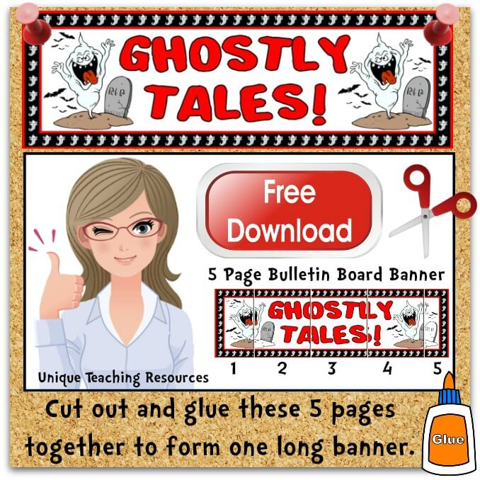Download Free Halloween Ghostly Tales Bulletin Board Display Banner