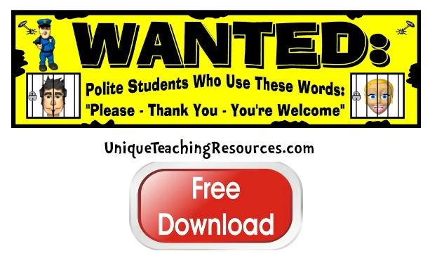 Click here to download this free polite students and good manners bulletin board display banner for your classroom.