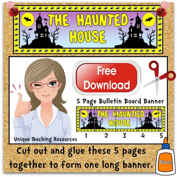 Download Free Halloween Haunted House Classroom Bulletin Board Display Banner