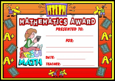 Free Math Award Certificate For Elementary Students