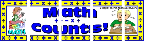 Assemble these 5 pages together to create a free math bulletin board display banner for your classroom.