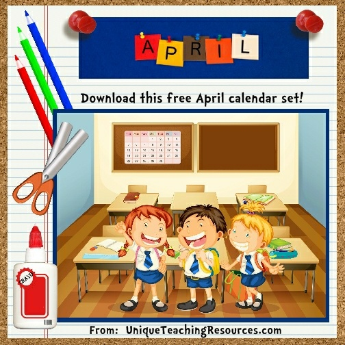 Free Printable April Classroom Calendar For School Teachers