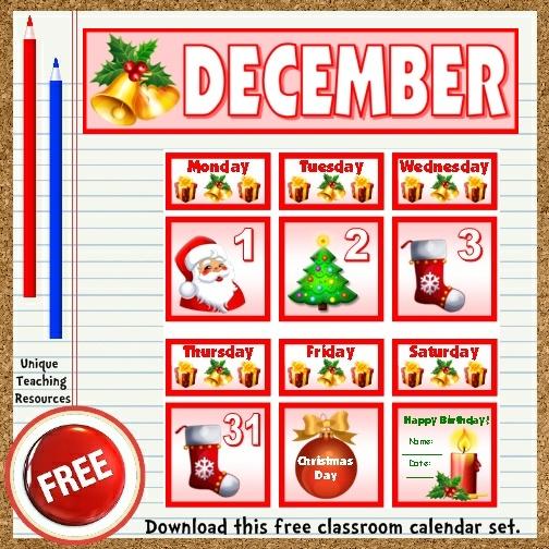 Classroom Calendar Display : Free printable december classroom calendar for school teachers