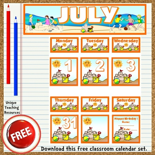 Download this free July calendar set from Unique Teaching Resources.  Perfect for pocket charts!