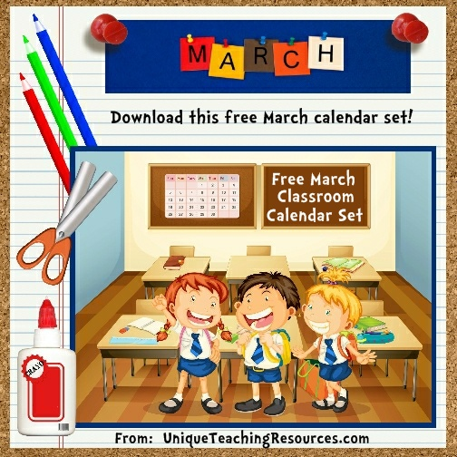Free Printable March Classroom Calendar For School Teachers