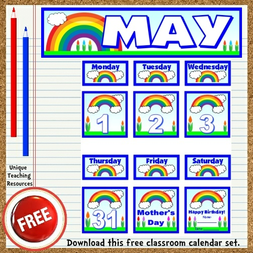 Download this free May calendar set from Unique Teaching Resources.  Perfect for pocket charts!