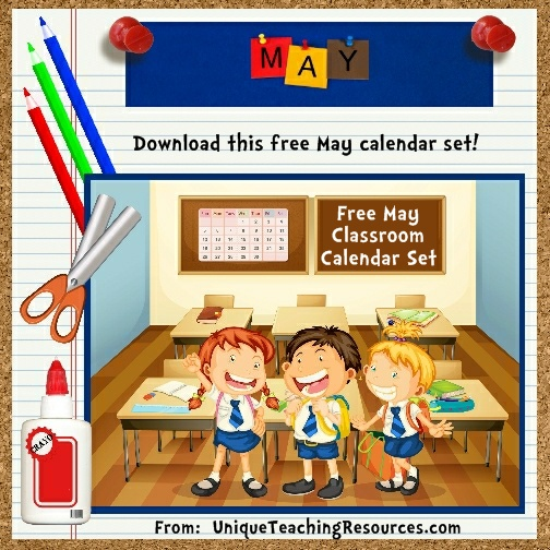 Free Printable May Classroom Calendar For School Teachers