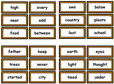 Fry 1000 Instant Words For Teaching Reading: Free Flash Cards and ...