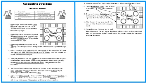 Game Board Book Report Projects: Directions for assembling templates