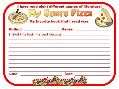 Genre Reading Pizza Favorite Book Worksheet Template Response Sheet