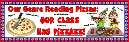 Genre Reading Pizza Bulletin Board Display of Reading Sticker Charts