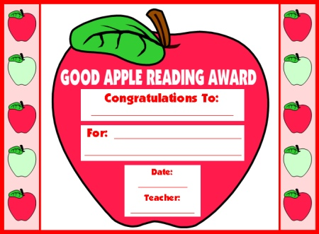 Reading Apple Student Award Certificate September and Back to School