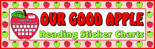 Reading Apple Student Sticker Charts Bulletin Board Display Banner