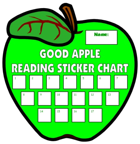 Reading Apple Sticker Charts and Templates for Elementary Students