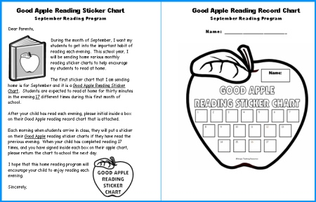 Reading Apple Sticker Chart Home Reading Program Parent Letter