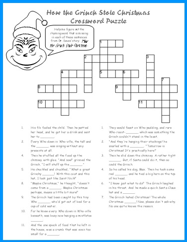 How the Grinch Stole Christmas Crossword Puzzle Worksheet Activity