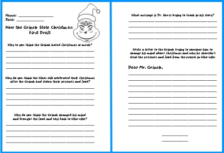 Worksheets Christmas Writing Worksheets how the grinch stole christmas lesson plans author dr seuss comprehension questions