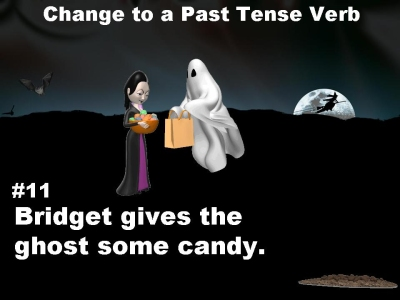 Halloween Present and Past Tense Verbs Powerpoint Presentation and Lesson Activity for primary and elementary students.