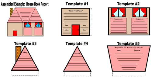 Fun House Book Report Project Templates and Worksheets Elementary School Students