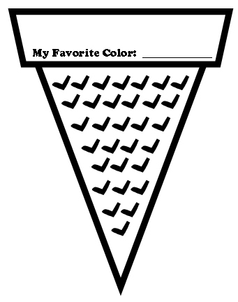 Ice Cream Cone Colour Template Printable Frosted Paper