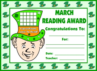 St. Patrick's Day Leprechaun Reading Award Certificate