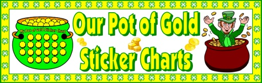 Pot of Gold St. Patrick's Day Bulletin Board Display Sticker Chart Set