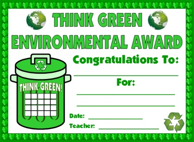 Recycling and Environmental Elementary Student Award Certificate