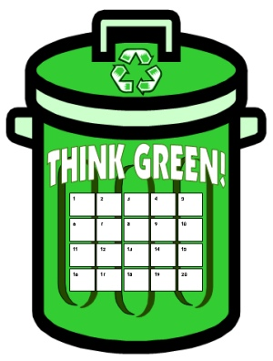 Think Green Recycling Sticker Chart Templates