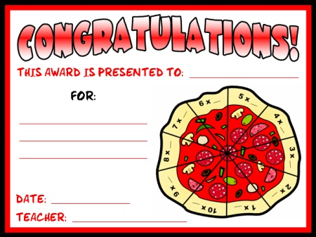 Math Times Tables Awards Certificate Pizza